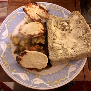 Zaalouk with halloumi and homemade bread