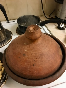 Tagine pot on an electric hob